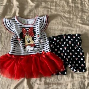Minnie Mouse shorts and tutu tee